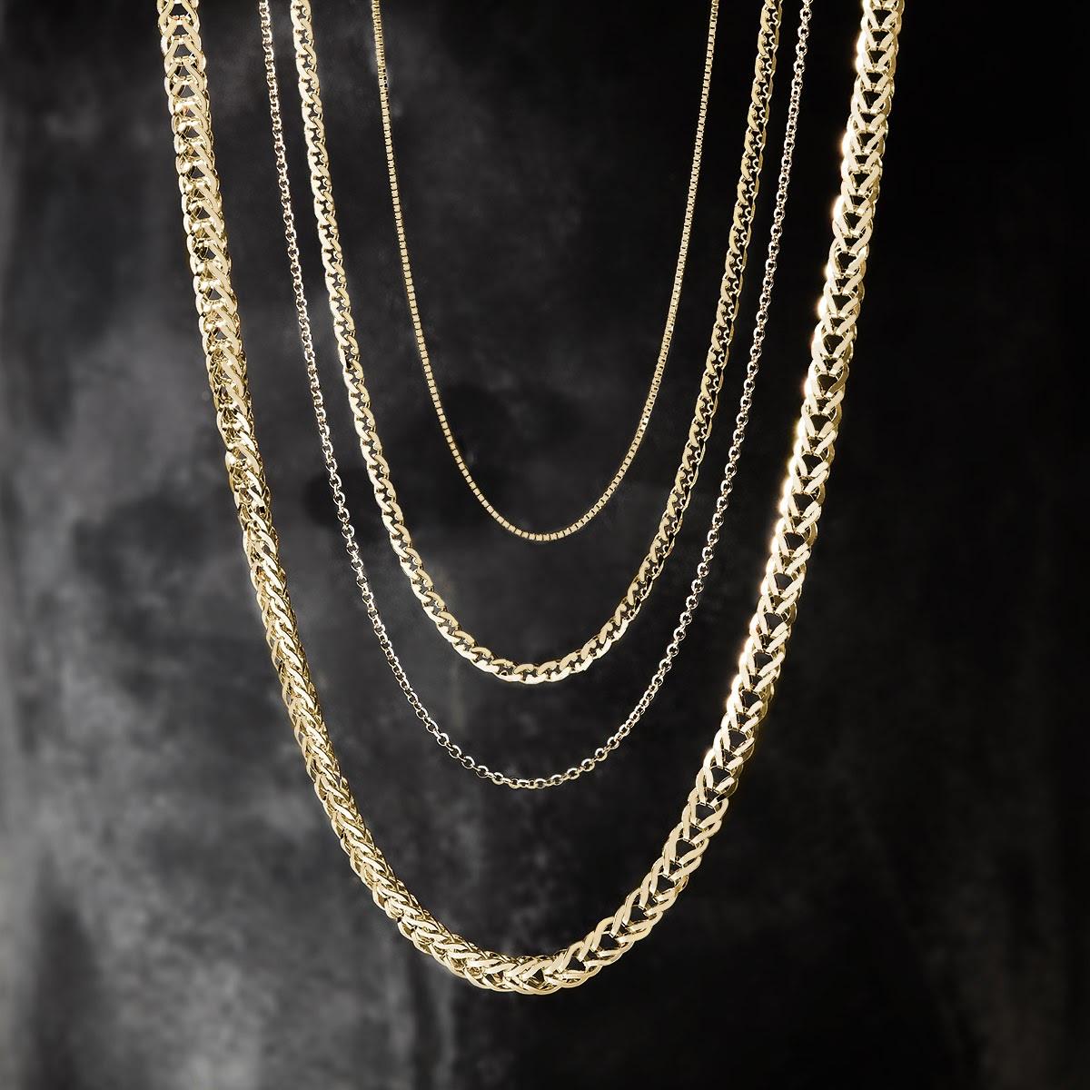 Zlaté retiazky s príveskami ako základ šperkovnice a ako na ne